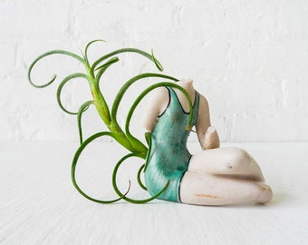 Vintage Summer Headless Pinup Plant Girl - Antique German Bisque Doll - Air Plant - Aqua Bathing Suit - Small Figurine - Spring Gift