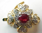 Ruby 14k Gold Clasp For Pearl Gemstone Bead Necklace
