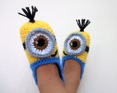 Crochet Minion Despicable Me Baby Booties,Minion Slippers- with non skid soles(for children 1 year old  and over)