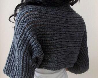 Elegant Gray Shrug-Knitting  Shrug - Any Season-Grey Bolero-New Item