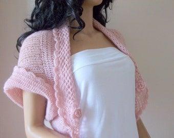 Pale Pink shrug-Blush color Mohair Shrug-Knitting and Crochet  Shrug - Any Season-Light Pink  Bolero-New Item