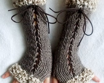 Knit Fingerless Gloves Long Wrist Warmers Taupe/ Brown Corset  with Suede Ribbons Victorian Style