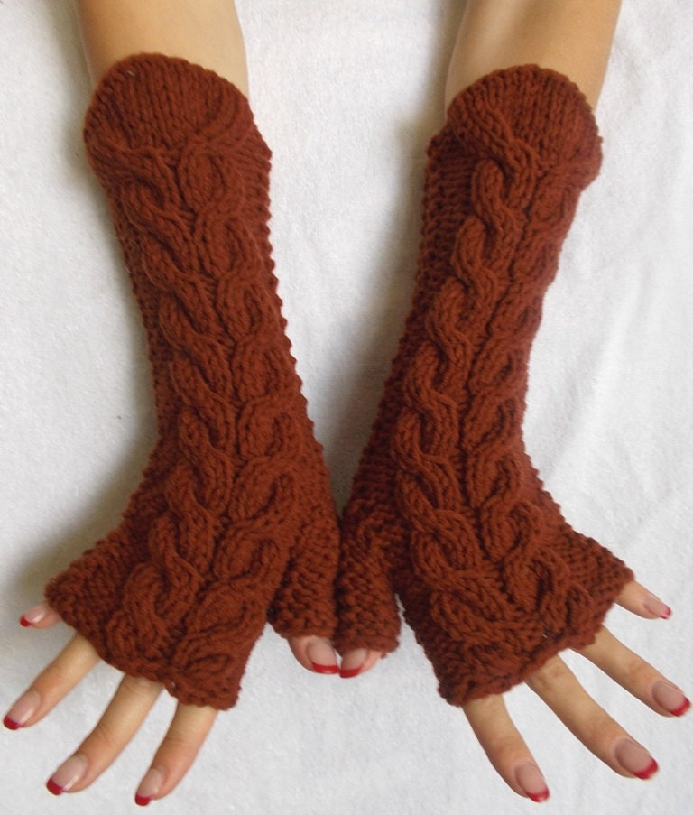 Chunky Fingerless Gloves Knit Arm Warmers Brown Cabled
