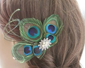 Peacock Feather Fascinator, Wedding Fascinator Hairclip