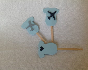 Airplane Theme Onesie Cupcake Toppers - Set of 12