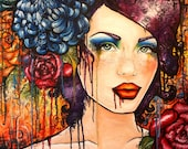 Tangle -   Stretched Canvas Print  inches Large Abstract lowbrow drippy rainbow graffitti  tattoo art woman rainbow wall art roses
