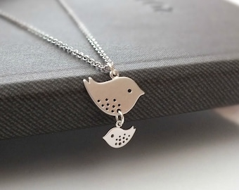 Mother and Daughter Necklace - Also Available in Gold, Family Bird Necklace, Baby Shower Jewelry, Mom Love Kid, New Mom Necklace, Charm Bird