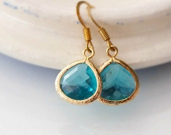 Blue Zircon Drop Earrings, Gold Filled Blue Zircon Dangle Earrings - Also Available in Silver, Aquamarine Earrings, Bridesmaid Earring