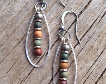 Natural Stone Earrings, Silver Hoop Earrings, Boho Earrings