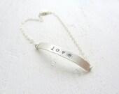 Love Letters - Love Bracelet // Sterling Silver Bracelet // Hand Stamped Jewelry // Delicate Bracelet // Minimalist Jewelry - REBELbyFATE