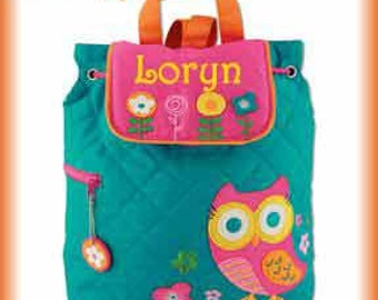 Monogrammed Backpack Personalized Backpack for Girls Stephen Joseph Owl Backpack- Backpacks for Kids- Preschool Backpack