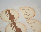 About to Pop Neutral Stickers Baby Shower Seals Pregnant Mommy Boy or Girl Set of 10