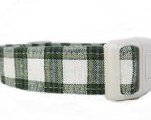 Green Plaid Dog Collar - Dark Green and Cream