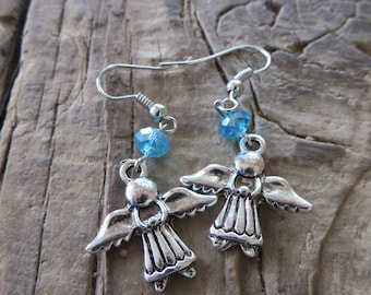 Dangling Metal Angel Earrings with Light Blue Crystal Cut Glass Beads