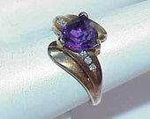 10K Amethyst Trillion Solitaire 6 Diamond Ring Size 5.5 Modern 2.4Grams