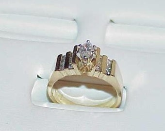 14K .50ct Diamond Marquise Solitaire Engagement Ring Yellow Gold Size 6.25