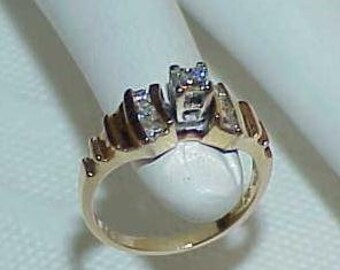 14K .48Ct VS Diamond Princess Solitaire w/ Accents Ring Yellow Gold Size 6 3/4