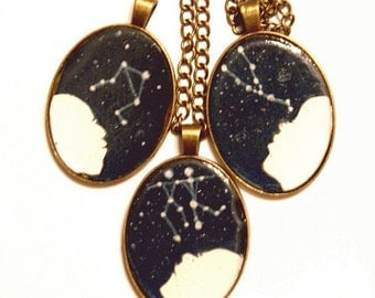 CUSTOM zodiac constellation- Handmade resin cast pendant- What's your Sign- Original Art