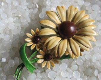 enamel flower brooch brown and tan