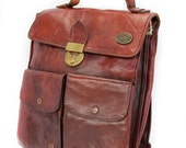 Rustica, Italian Vintage, 1960s Burgundy Tan Leather Satchel, His and Hers, Messenger Handbag from Paris