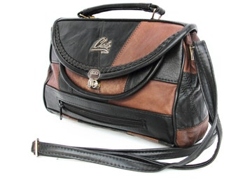 Charlie, French Vintage, 1970s Brown, Black, Leather Satchel, Messenger, Crossbody, Handbag from Paris
