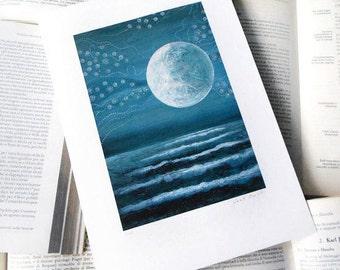 Art print - landscape - Blue print - indigo- Under the Moon -