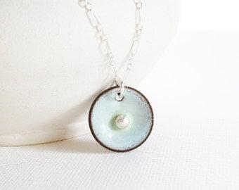 Enamel Necklace -  Robin Egg Blue, Fine Silver Egg, Modern Bird Nest, Copper Enamel Jewelry