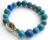 RESERVED FOR SUE H - Blue Elasticated Fish Bracelet