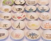 set of two - mini dish - tea bag holder - ring dish - choose your design