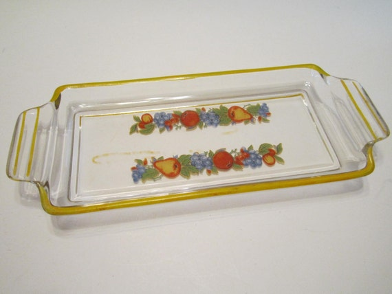 Glass Relish Pickle Tray Dish Plate Hand Painted - Retro Style