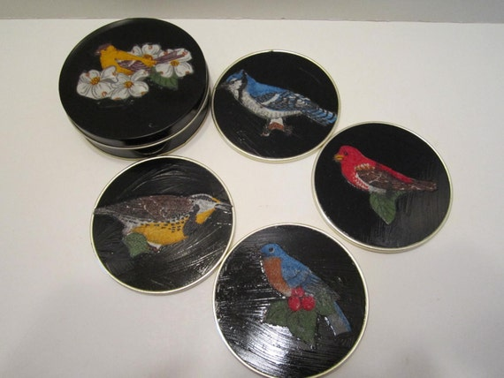 Vintage Drink Coasters - Vintage Decoupaged Bird Design - Bird Lovers Coasters - Collectible Coasters - Set of 4 in Black Tin Canister