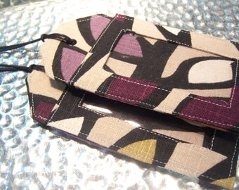 Fabric Luggage Tags Strap Taupe Black Purple Print Vinyl Plastic Clear Window Opening