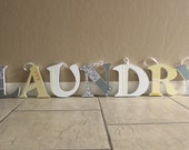 Home Decor- Custom designed letters to match laundry room, bedroom, kitchen, love, family wall decor, 7 and a half inches