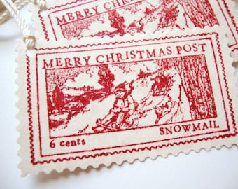 Christmas Gift Tags Rustic Vintage Inspired Postage Stamp Tags