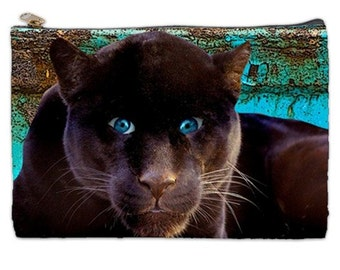 Panther Cosmetic Bag, Panther, Cosmetic makeup bag, large cosmetic bag, zippered makeup bag, black panther, black leopard, NirvanaRoad,