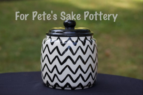 Hand painted, ceramic, chevron, kitchen, jar,  Canister, Cookie jar
