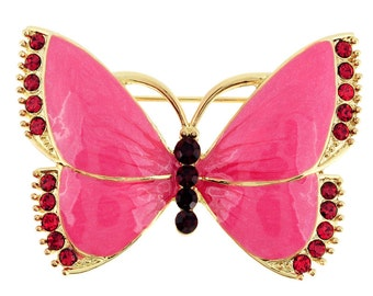 Pink Butterfly Crystal Pin Brooch 1002042
