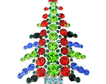 MultiColor Abstract Christmas Tree Pin Brooch 1002211