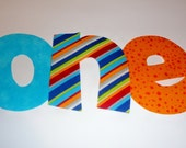 Iron On Applique Blue And Orange BIRTHDAY WORD......Birthday Year Number One 1