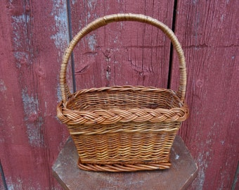 Vintage Woven Basket For Flowers