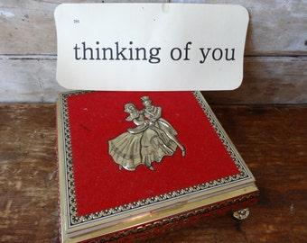 Vintage Metal Red Box Victorian Motif Made In Western Germany