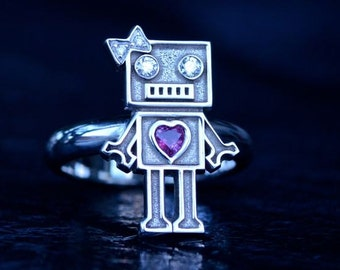 Bad Robot Inspired Engagement Ring14K White Gold set with Diamonds and Heart Shape Ruby Custom Made to Order