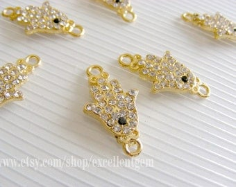 20% off Hands of Fatima Hamsa Gold plated with AB color crystal rhinestone Bracelet Connector,Pendant,12mm X 22mm