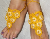 Lovely crocheted silk barefoot sandals in yellow
