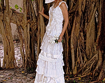 Custom Reclaimed Ivory Lace Ivory or White Wedding Gown Custom Layers of Vintage Materials