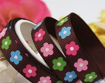 Brown Grosgrain Ribbon with Flowers 3/8 Inch 9mm
