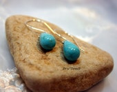 Simple Drops: Turquoise and Sterling Earrings