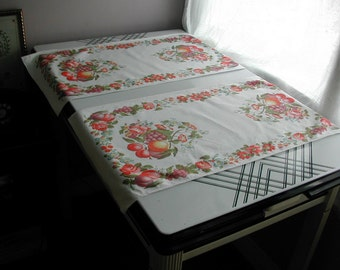 Mid Century Vintage 1950's Bold Graphics Fruit & Flowers Table Runners