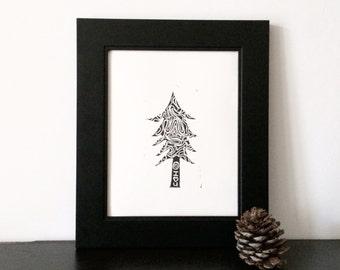 Modern Christmas Tree Linocut in Black 8x10 Printmaking