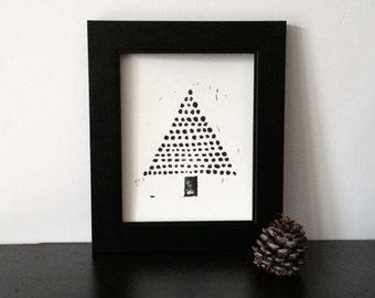 Christmas Tree Modern Decor Black art PRINT Linocut 8x10 on white paper